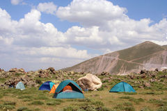Camping at mountain Stock Photos