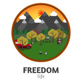 Camping mountain background, with stuff and car, flat design. Royalty Free Stock Photos