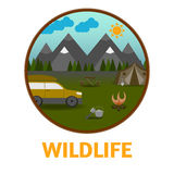 Camping mountain background, with stuff and car, flat design. Stock Photos