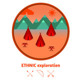 Camping mountain background, with wigwams, flat design. Stock Images