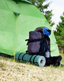 Camping.Mountain Backpack and Tent Royalty Free Stock Images