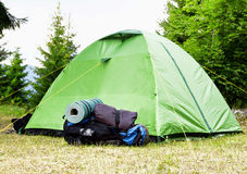 Camping.Mountain Backpack and Tent Royalty Free Stock Photo