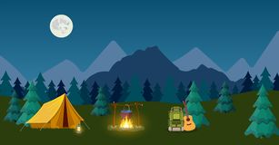Camping and Mountain Camp. For Web Banners or Promotional Materials. Vector illustration in flat style vector illustration