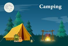 Camping and Mountain Camp. For Web Banners or Promotional Materials. Vector illustration in flat style royalty free illustration