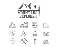 Camping mountain explorer camp badge, logo. Template. Travel, hiking, climbing line icons. Thin and outline design. Outdoor. Best for adventure sites, travel royalty free illustration