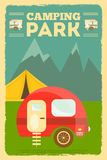 Camping. Mountain Camping with Family Trailer Caravan. Campsite Landscape with RV Traveler Truck and Tent. Outdoor Traveling Vacation. Retro Style. Vector vector illustration