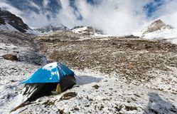 Camping on mountain in himalayas - nepal Stock Photo