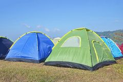Camping on the mountain. Khao Kho Thailand, tent, green, travel, summer, camper, nature, grass, park, environment, leisure, adventure, forest, blue, white stock image