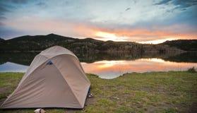 Camping on a Mountain Lake Royalty Free Stock Photos