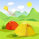 Camping and mountain landscape Royalty Free Stock Photo
