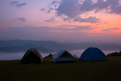 Camping on the mountain at Nan Thailand. Relaxing, the middle ground of the tent,Thailand, Sri Nan National Park, Doi Samer Dao, Camping, Mountain, Landscape Royalty Free Stock Photo