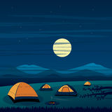 Camping on the Mountain Night Scene Stock Image