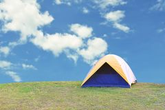 Camping on the mountain. Phetchabun Thailand, tent, green, travel, summer, camper, nature, grass, park, environment, leisure, adventure, forest, blue, white stock image