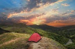 Camping mountain stock photo
