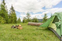 Camping in a mountainous area with cooking equipment. Royalty Free Stock Images