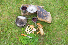 Camping in a mountainous area with cooking equipment. Royalty Free Stock Photos