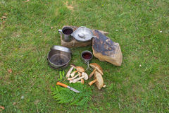 Camping in a mountainous area with cooking equipment. Stock Images