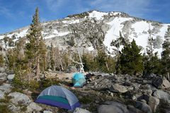 Camping in the mountains. Hikers camping in the mountains Royalty Free Stock Photos