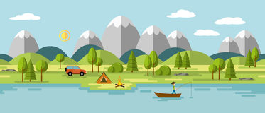 Camping in the mountains. Also usable as a continuous panorama Royalty Free Stock Images