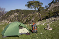 Camping in the mountains. Royalty Free Stock Photo