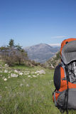 Camping in the mountains. Backpack in the mountains with views of the mountains Royalty Free Stock Images