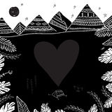 Camping and mountains card with heart frame in ethnic ornate sty Stock Photos