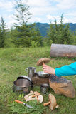 Camping in the mountains and cooking food from mushrooms. Hiking in the mountains in the summer with the collection of mushrooms Stock Photo