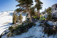 Camping in Mountains of Desolation Wilderness, California. Bright sunlight falls on high mountain scenery in California`s Desolation Wilderness, not far from stock images