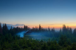 Camping in the mountains. Evening landscape. Twilight in the mountains. Camping Outdoors Stock Image