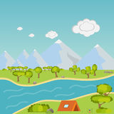 Camping in the mountains. Flat design, vector illustration, vector royalty free illustration