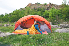 Camping in the mountains. Royalty Free Stock Photography