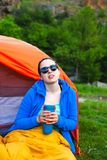 Camping in the mountains. stock photography