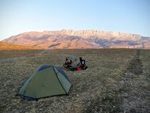 Camping in the mountains. Meant to express freedom and to promote sport Stock Images
