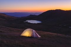 Camping in the mountains. Mount Kosciuszko Australia. Camping in the mountains. Mount Kosciuszko Stock Photo