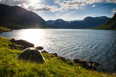 Camping  in mountains near lake Royalty Free Stock Photo