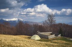 Camping in the mountains in spring. Spring landscape with the beautiful sky. Camping in the mountains. Carpathians, Ukraine, Europe Royalty Free Stock Photography