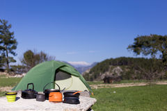 Camping in the mountains. Stock Photos