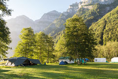 Camping in mountains, Switzerland. Royalty Free Stock Photography