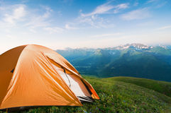 Camping in mountains Stock Image