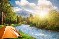 Camping in mountains. Tourist tent in forest camp Stock Photos
