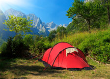 Camping in mountains Royalty Free Stock Photo