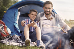 Camping with my son Royalty Free Stock Photography