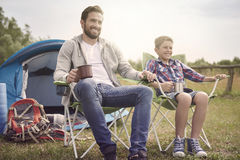 Camping with my son Royalty Free Stock Image