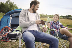 Camping with my son Royalty Free Stock Photos