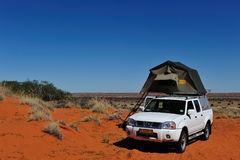 Camping in Namibia. Camping in southern Africa with a 4x4 car and a roof tent (Kalahari desert - Namibia royalty free stock photos