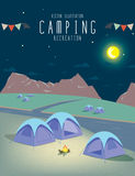 Camping in the natural atmosphere. (Night). Illustration vector of camping in the natural atmosphere. (Night royalty free illustration