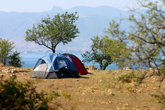 Camping in nature. Tent in summer nature Stock Photos