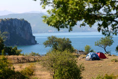 Camping in nature. Tent in summer nature Royalty Free Stock Photography