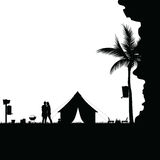 Camping in nature behind the cliff couple silhouette illustratio. N in black Stock Images