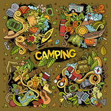 Camping nature doodles designs. Camping doodles nature hand drawn vector symbols and objects Royalty Free Stock Photography